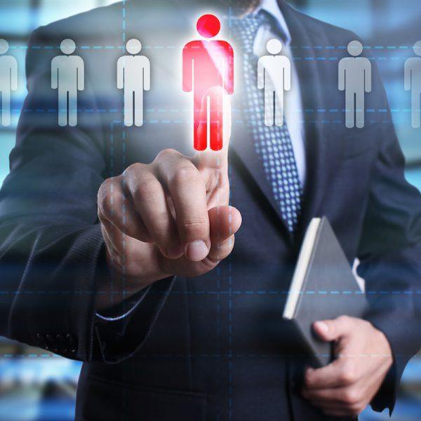 businessman using modern computer, pressing button on virtual screen. business strategy, recruitment,human resource concept